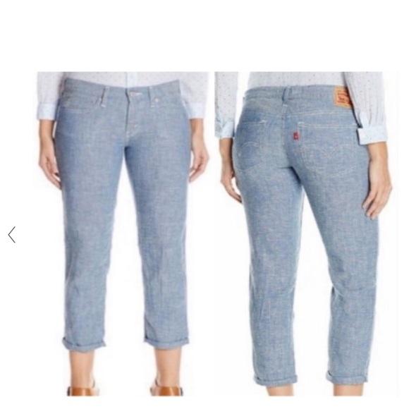 Levi's linen boyfriend pants cropped
